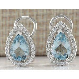 Silver Pear cut Aquamarine Stud Earrings